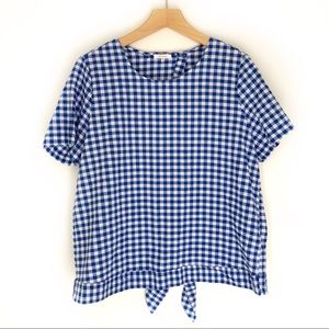 Pleione Blue Gingham Tie Back Shirt Size XL